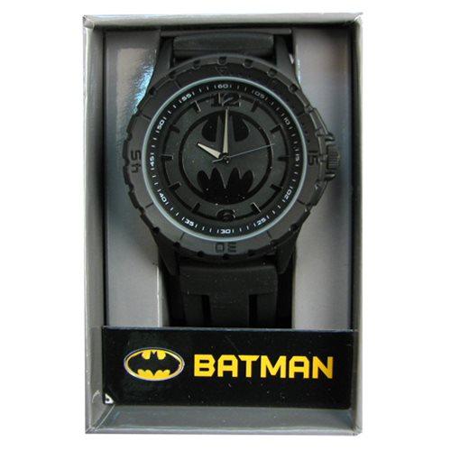 蝙蝠侠黑色徽标橡胶表带手表